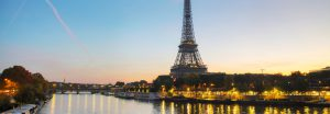 Eiffel tower in Paris, France at sunrise