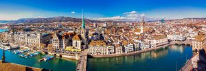 Zurich city center with famous Fraumunster Church